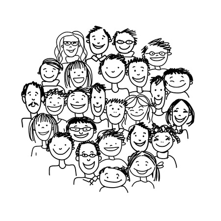 Group of people, sketch for your design Stock Vector - 37038349