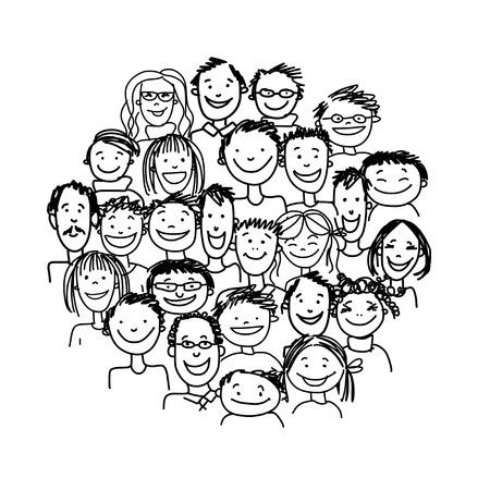 bocetos de personas: Grupo de personas, boceto de su dise�o Vectores
