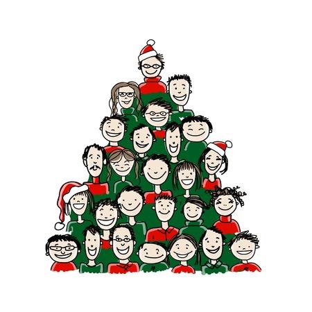 あなたのデザインのための人々 のグループから行われたクリスマス ツリー  イラスト・ベクター素材