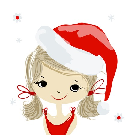santa girl: Santa girl portrait, sketch for your design. Vector illustration Illustration