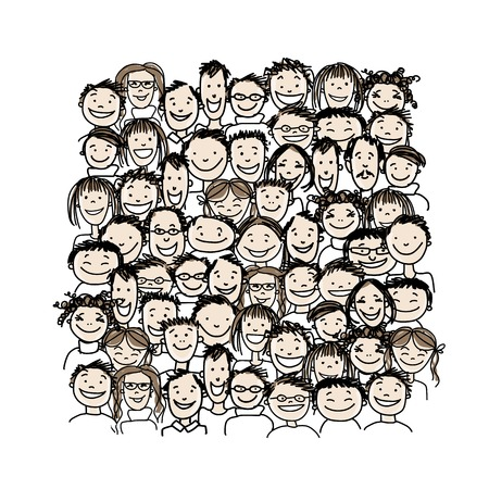 illustration people: Group of people, sketch for your design