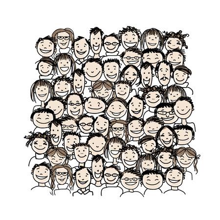 obrero caricatura: Grupo de personas, boceto de su dise�o Vectores