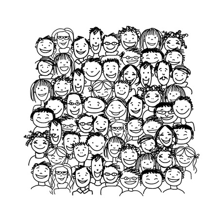 people smiling: Group of people, sketch for your design