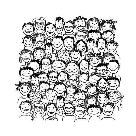 dessin au trait: Groupe de personnes, esquisser pour votre conception