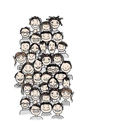 Groupe de personnes, esquisser pour votre conception Banque d'images - 37038435