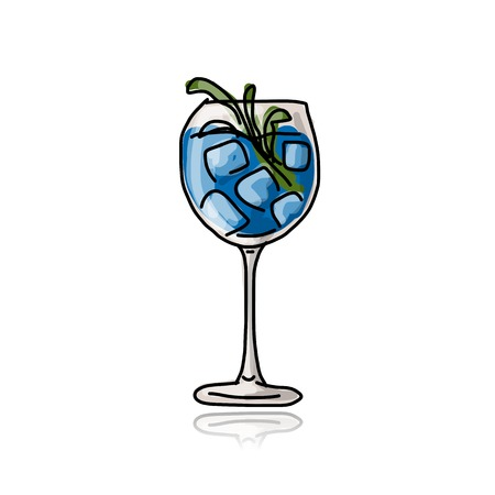Glass with cocktail, sketch for your design