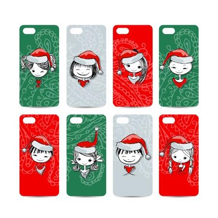 Mobile phone cover back. Santa girls for your design Vector