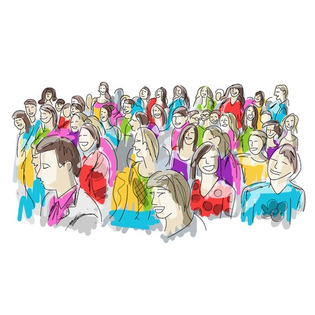 Group of people, sketch for your design Stock Vector - 39058125
