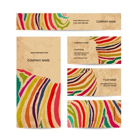 Set of business cards, colorful zebra print design Illustration