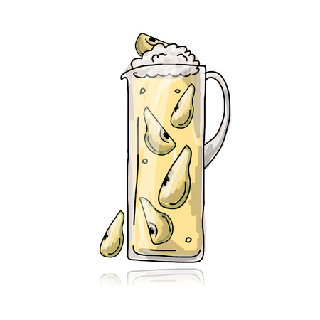 Pear cocktail in jug, sketch for your design Vector