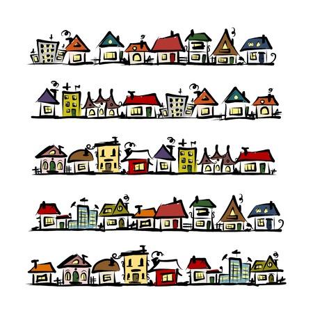 Set van huizen, schets voor uw ontwerp