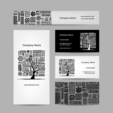 Business cards design, ethnic tree Vector
