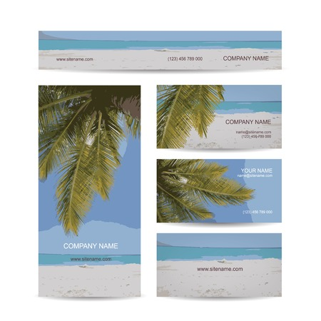 Business cards design, tropical island Vector