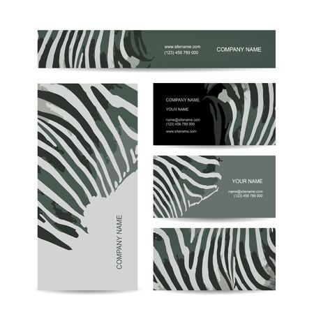 zebra: Conjunto de abstractas creativas tarjetas de visita, diseño de estampado de cebra Vectores