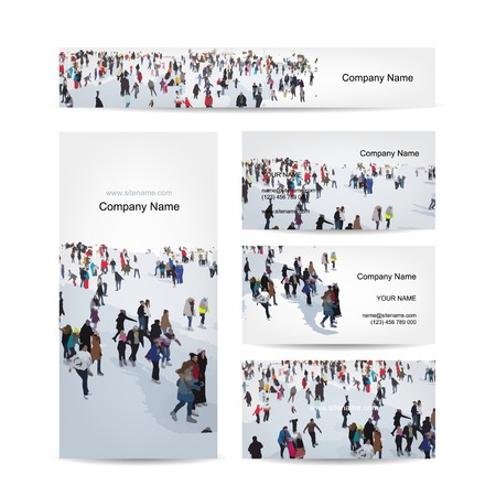 winter woman: Business cards design, skaters on rink