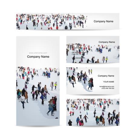 Visite kaartjes ontwerpen, schaatsers op ijsbaan Stock Illustratie