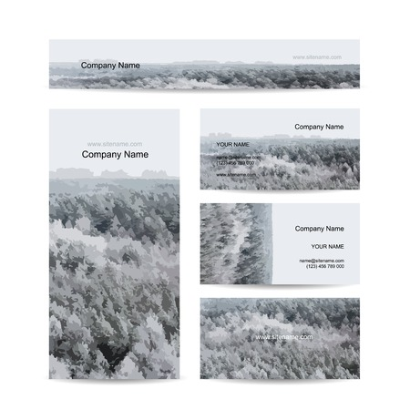 foggy: Business cards design, foggy winter forest background