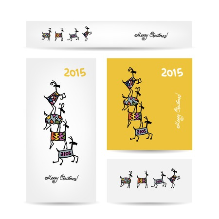 Funny goats. Christmas cards design. Vector