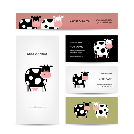 bull illustration cute animals: Business cards design with funny cow