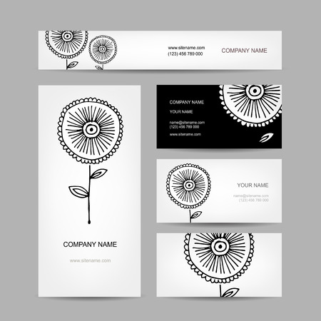 florish: Business cards collection, abstract floral design
