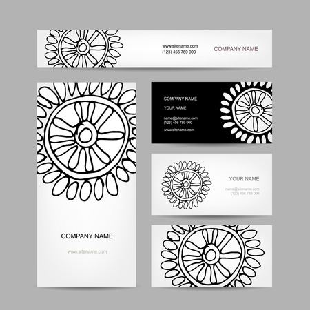 Business cards collection, abstract floral design Vector
