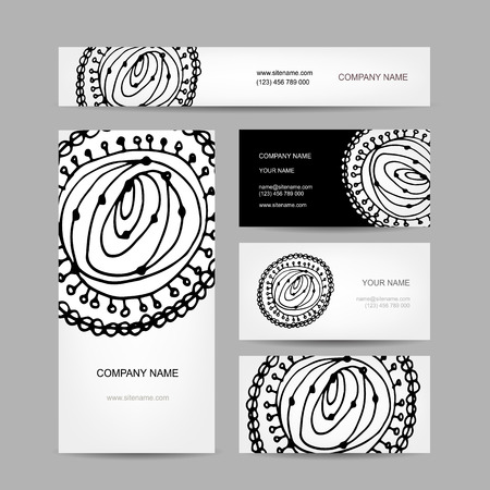 Business cards collection, abstract floral design