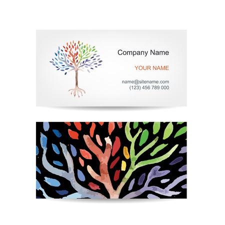 Business card template design. Art tree Vector
