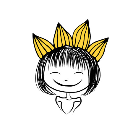 curly hair child: Girls princess with crown on head for your design