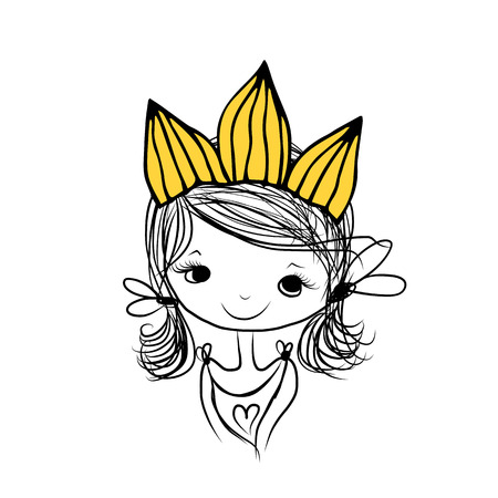 head for: Girls princess with crown on head for your design