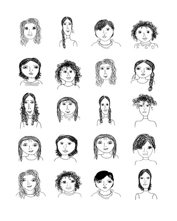 curly hair child: Set of female portraits, cartoon for your design Illustration