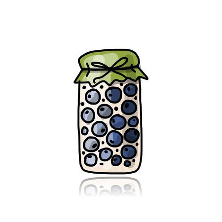 blueberry jam: Jar with blueberry jam, sketch for your design Illustration