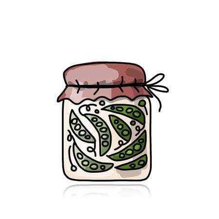 pickled: Bank of pickled green pea, sketch for your design Illustration