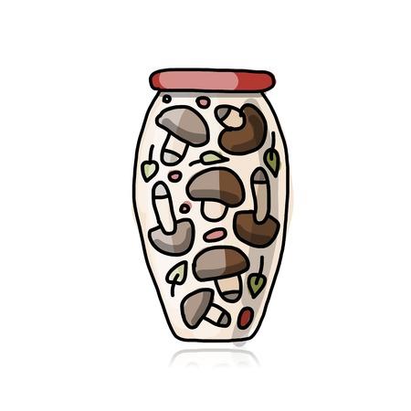 pickled: Bank of pickled mashrooms, sketch for your design