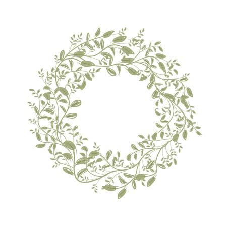 marcos redondos: Hoja boceto corona de flores para su diseño