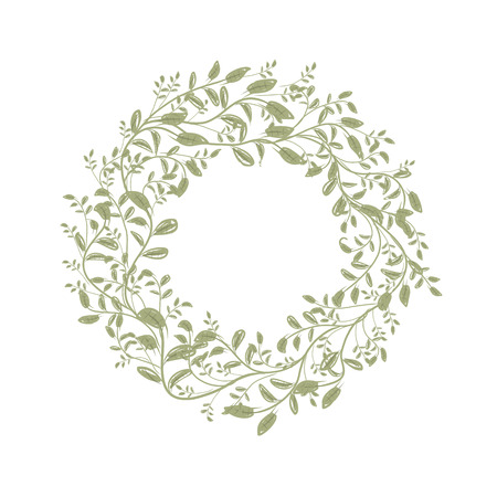 Leaf wreath sketch for your design Ilustração