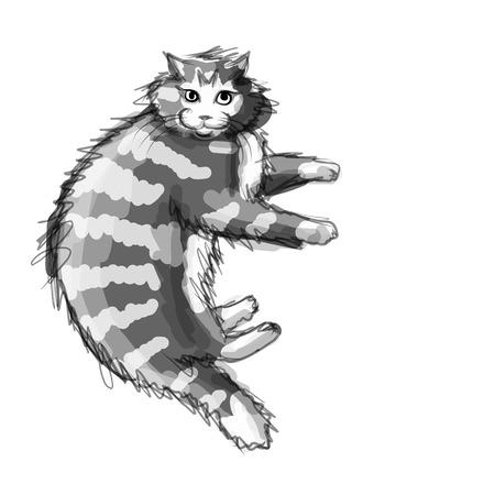 Carino gatto grigio, schizzo per la progettazione Archivio Fotografico - 40327001