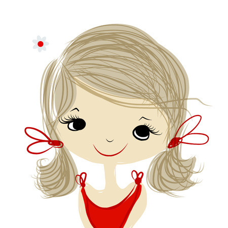かわいい女の子の笑みを浮かべて、あなたの設計のためのスケッチ  イラスト・ベクター素材