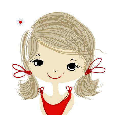 Nettes Mädchenlächeln, Skizze für Ihr Design