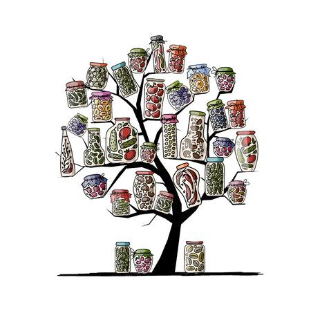 pickle: Art tree with pickle jars for your design Illustration