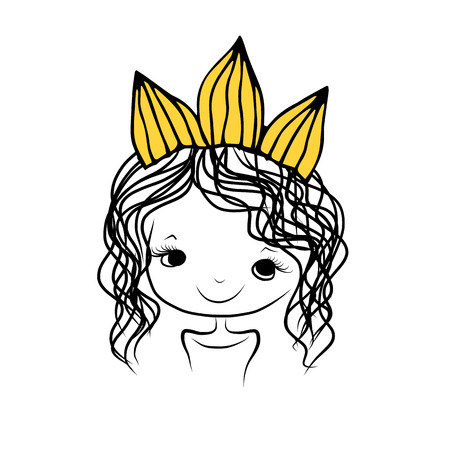 child hair: Girls princess with crown on head for your design
