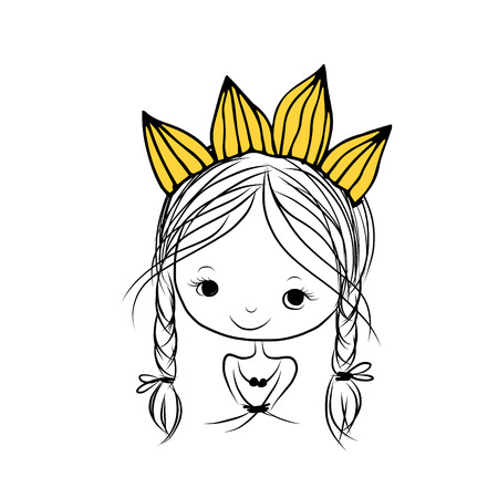 sketch child: Girls princess with crown on head for your design