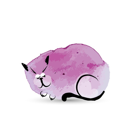 cat sleeping: Funny cat sleeping. Watercolor sketch for your design