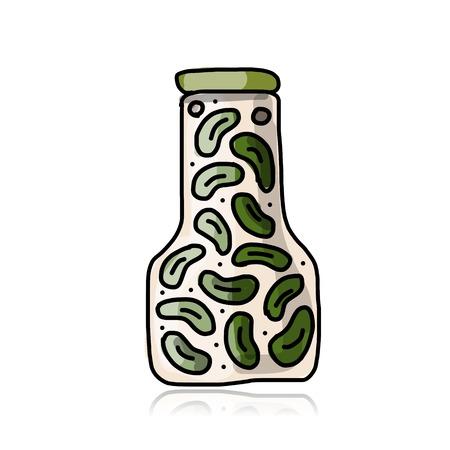 pickled: Bank of pickled cucumber, sketch for your design