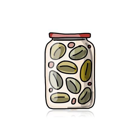 pickled: Bank of pickled olives, sketch for your design Illustration