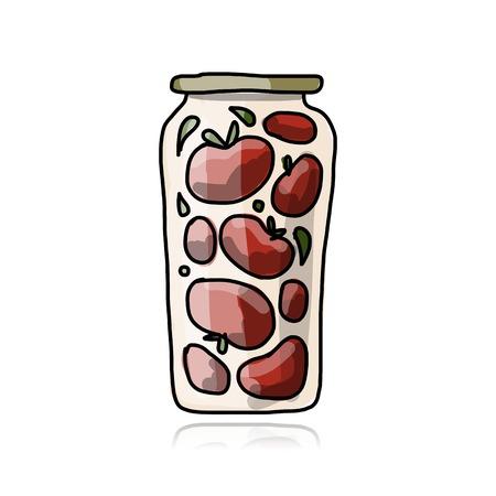 pickled: Bank of pickled tomatos, sketch for your design