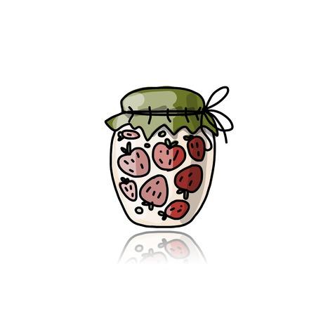 strawberry jam: Jar with strawberry jam, sketch for your design Illustration