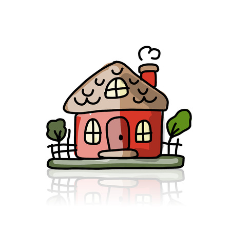 small town life: House icon, sketch for your design