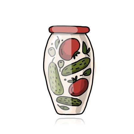 pickled: Bank of pickled vegetables, sketch for your design