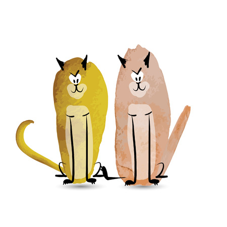 funny cats: Funny cats. Watercolor sketch for your design Illustration
