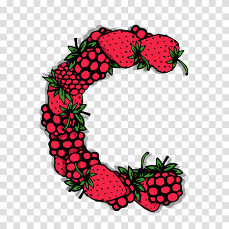red berries: Letter C made from red berries, sketch for your design. Illustration